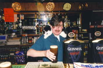 Joe the cat likes Guinness